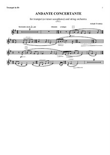 Andante Concertante for Trumpet (or Tenor Saxophone) and String Orchestra: Trompetenstimme by Arkadi Troitsky