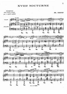 Nocturnen, Op.62: Nr.2, für Violine und Klavier by Frédéric Chopin