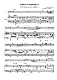 Fantasie-Impromptu in cis-Moll, Op.66: Middle part for instrument in treble clef and piano by Frédéric Chopin
