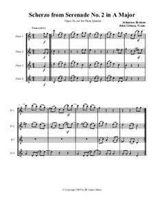 Ständchen Nr.2 in A-Dur, Op.16: Scherzo, set for flute quartet by Johannes Brahms
