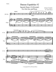Zwölf Spanische Tänze: Danсe No.2, for alto saxophone and piano by Enrique Granados