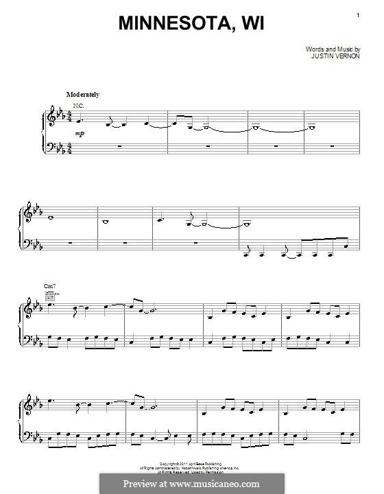 Minnesota, WI (Bon Iver): Für Stimme mit Klavier oder Gitarre by Justin Vernon