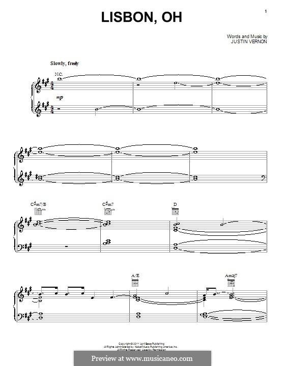 Lisbon, OH (Bon Iver): Für Stimme mit Klavier oder Gitarre by Justin Vernon