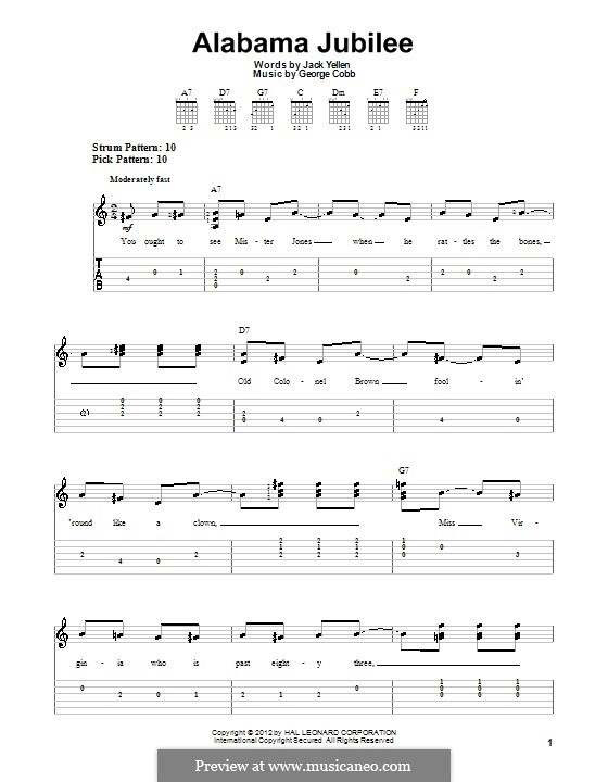 Alabama Jubilee: Guitar tablature (Arthur Collins and Byron Harlan) by George L. Cobb