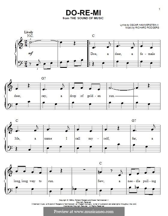 Do-Re-Mi (from The Sound of Music): Für Klavier (leicht, mit Text) by Richard Rodgers