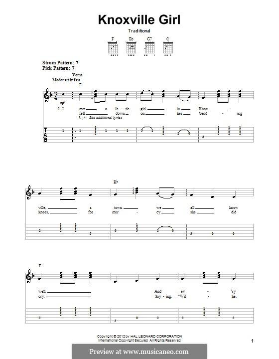Knoxville Girl: Für Gitarre by folklore