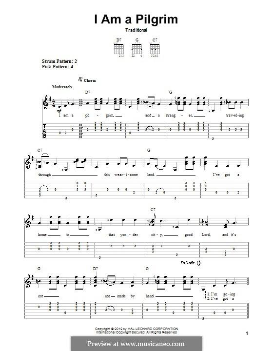 I'm a Pilgrim: Für Gitarre by folklore