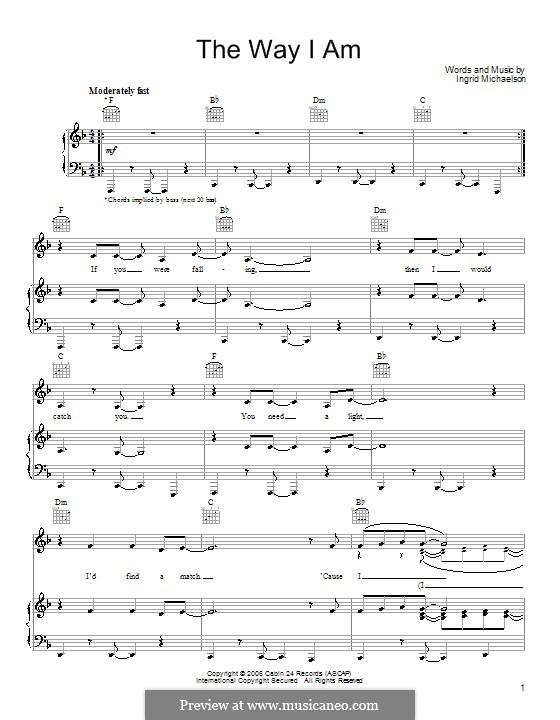 The Way I Am: Für Stimme und Klavier (oder Gitarre) by Ingrid Michaelson