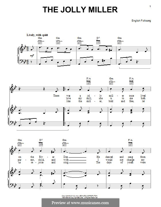 Jolly Miller: Für Stimme und Klavier (oder Gitarre) by folklore