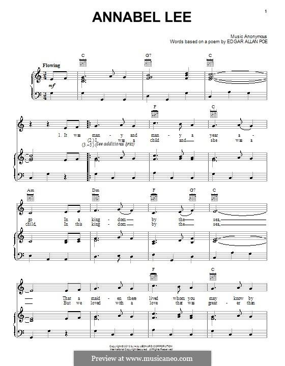 Annabel Lee: Für Stimme und Klavier (oder Gitarre) by folklore