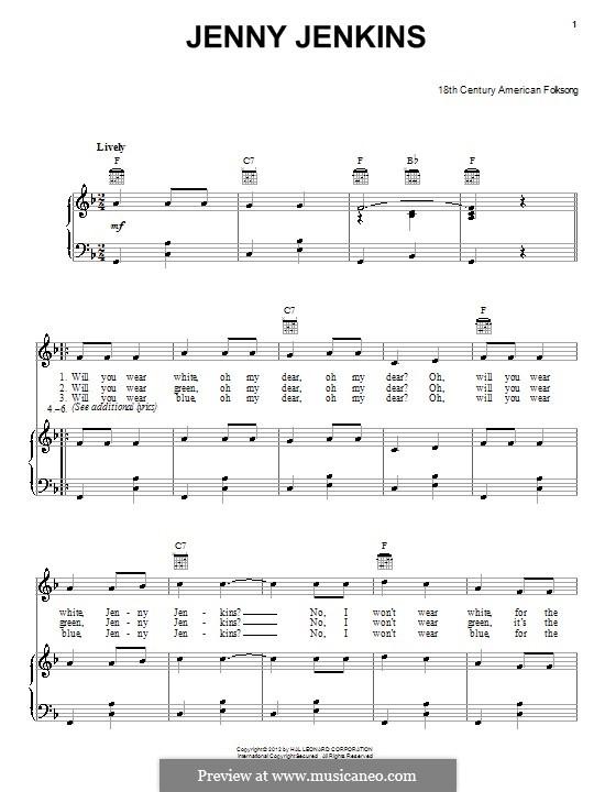 Jenny Jenkins: Für Stimme und Klavier (oder Gitarre) by folklore
