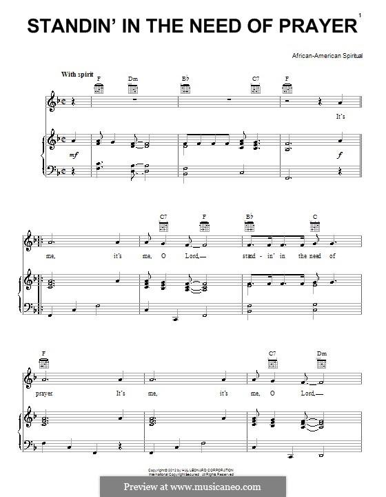 Standing in the Need of Prayer: Für Stimme und Klavier (oder Gitarre) by folklore