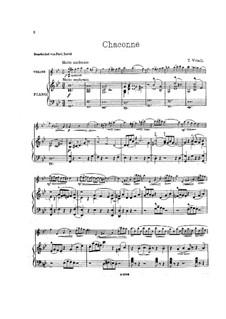 Chaconne in g-Moll: Für Violine und Klavier – Partitur, Stimme by Tomaso Vitali