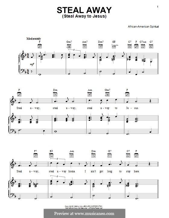 Steal Away (Steal Away To Jesus): Für Stimme und Klavier (oder Gitarre) by folklore