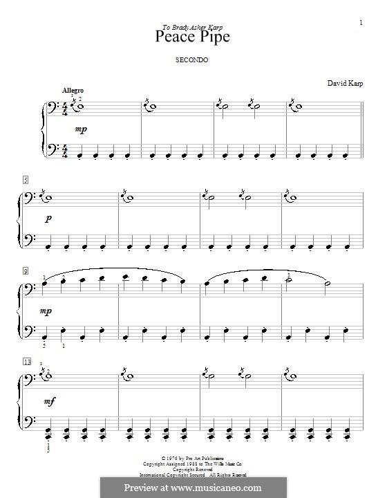 Peace Pipe: Für Klavier, vierhändig by David Karp