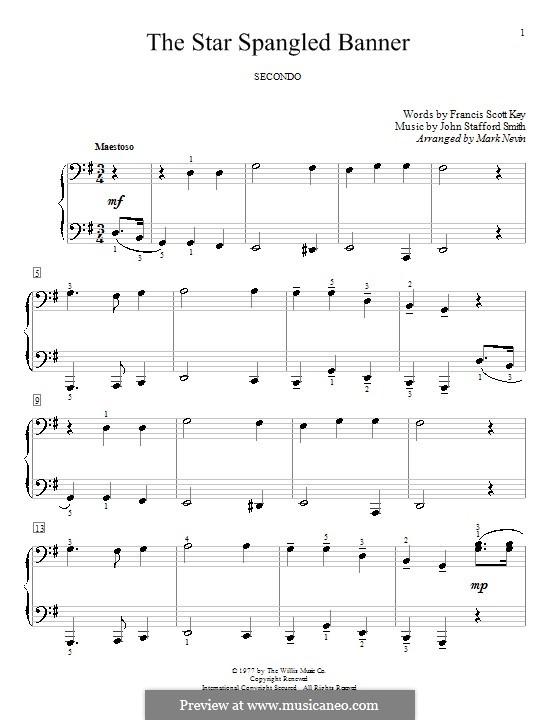 The Star Spangled Banner (National Anthem of The United States). Printable Scores: Für Klavier, vierhändig by John Stafford Smith