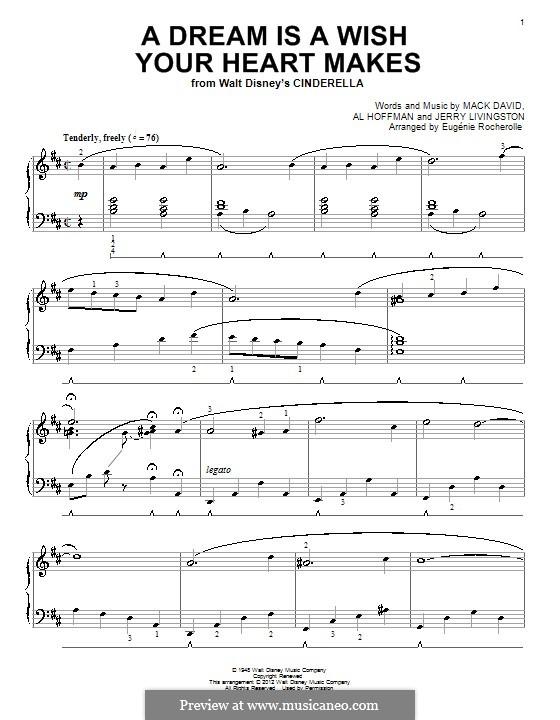A Dream Is a Wish Your Heart Makes (from Disney's Cinderella): Für Klavier (mit Applikatur) by Al Hoffman, Jerry Livingston, Mack David
