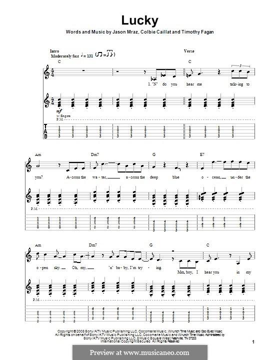 Lucky: Für Gitarre by Colbie Caillat, Jason Mraz, Timothy Fagan