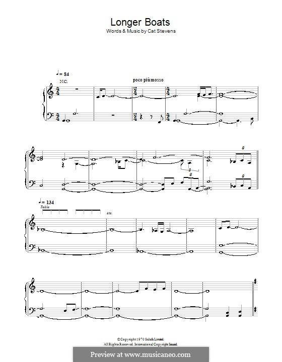 Longer Boats: Für Stimme und Klavier (oder Gitarre) by Cat Stevens
