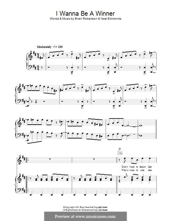 I Wanna Be a Winner: Für Stimme und Klavier (oder Gitarre) by Brian Robertson, Noel Edmonds