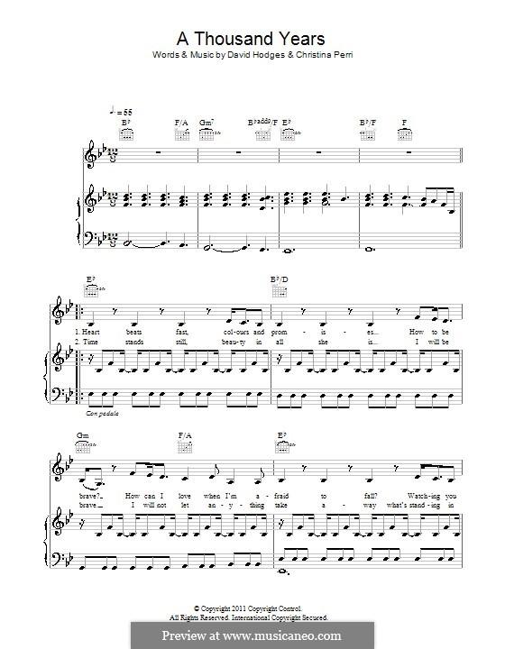 A Thousand Years: Für Stimme und Klavier (oder Gitarre) by Christina Perri, David Hodges