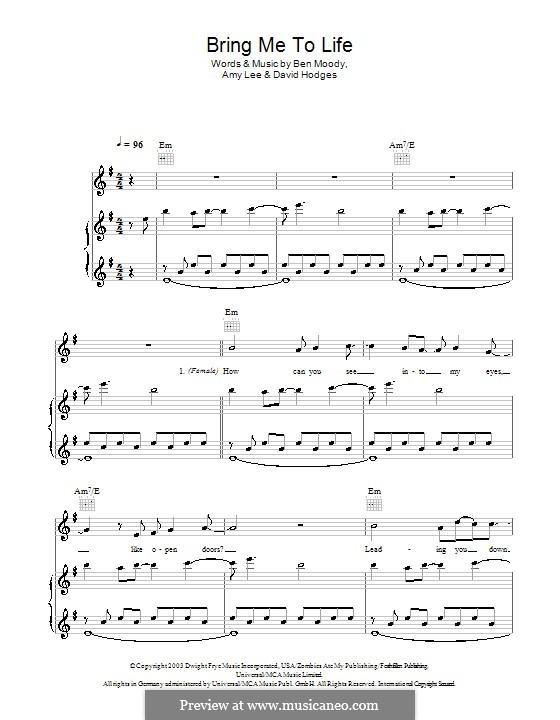 Bring Me to Life (Evanescence): Für Stimme und Klavier (oder Gitarre) by Amy Lee, Ben Moody, David Hodges