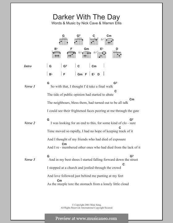 Darker with the Day: Text und Akkorde by Nick Cave, Warren Ellis