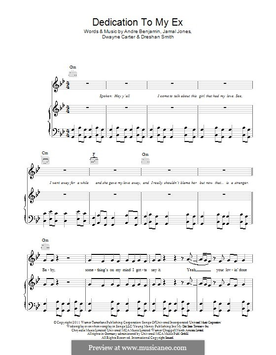 Dedication to My Ex (Miss That): Für Stimme mit Klavier oder Gitarre (Lloyd) by André Benjamin, Dwayne Carter, Jamal Jones, Dreshan Smith
