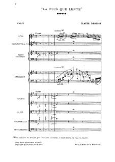 La plus que lente, L.121: Für Orchester by Claude Debussy