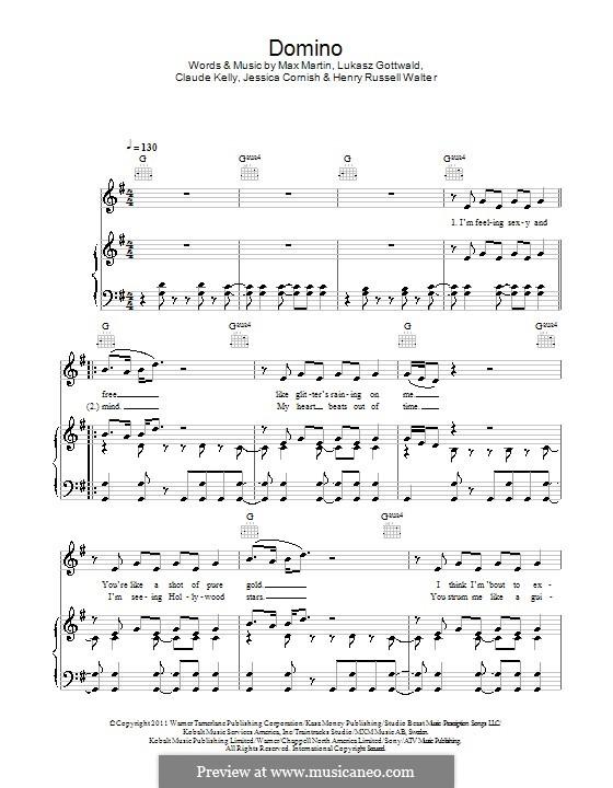 Domino (Jessie J): Für Stimme und Klavier (oder Gitarre) by Claude Kelly, Jessica Cornish, Lukas Gottwald, Max Martin, Henry Russell Walter