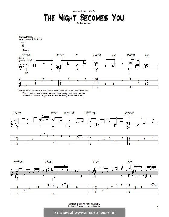 The Night Becomes You: Für Gitarre by Pat Metheny
