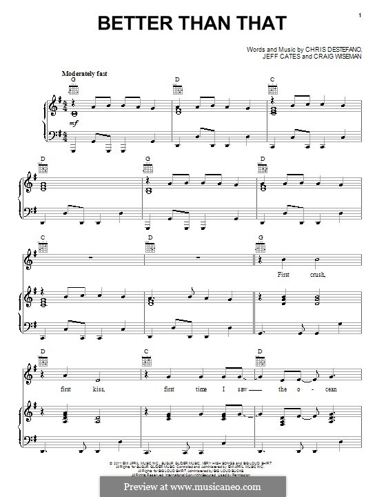 Better Than That (Scotty McCreery): Für Stimme und Klavier (oder Gitarre) by Craig Wiseman, Jeff Cates, Chris Destefano