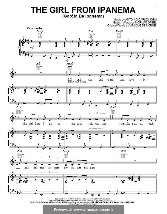 The Girl from Ipanema (Garota de Ipanema): Für Stimme mit Klavier oder Gitarre (Amy Winehouse) by Antonio Carlos Jobim