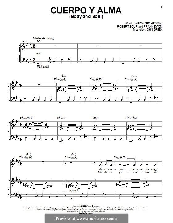 Body and Soul: Für Stimme und Klavier by John W. Green