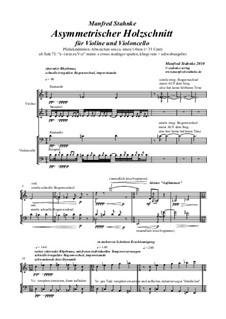 Asymmetrischer Holzschnitt (violine, violoncello): Asymmetrischer Holzschnitt (violine, violoncello) by Manfred Stahnke