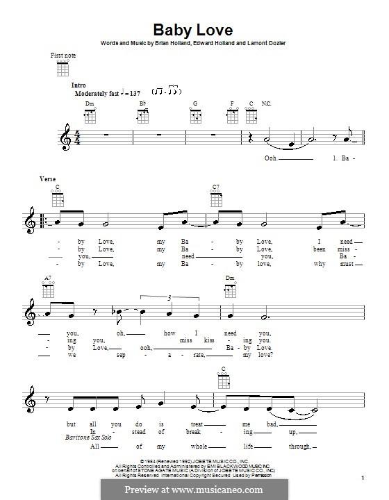 Baby Love (The Supremes): Für Ukulele by Brian Holland, Edward Holland Jr., Lamont Dozier