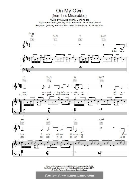 On My Own: Für Stimme mit Klavier oder Gitarre (Military Wives) by Claude-Michel Schönberg