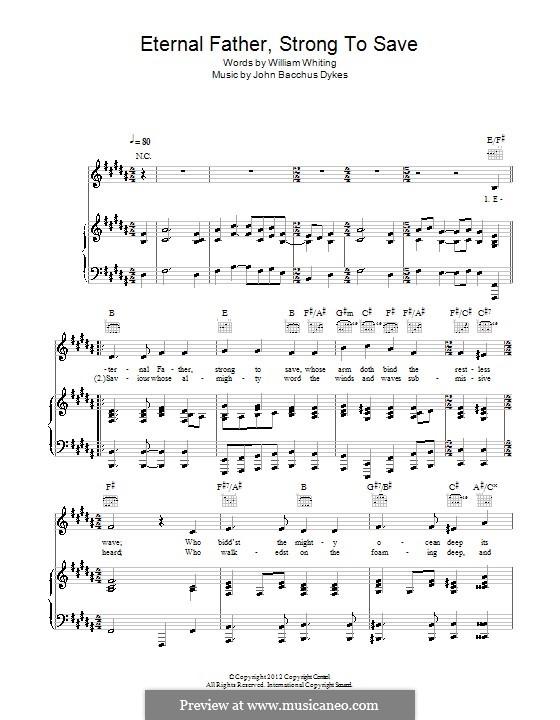 Eternal Father, Strong to Save: Für Stimme und Klavier (oder Gitarre) by John Bacchus Dykes