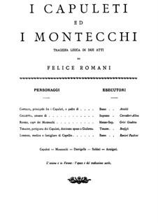 Die Capulets und die Montague: Klavierauszug mit Singstimmen by Vincenzo Bellini