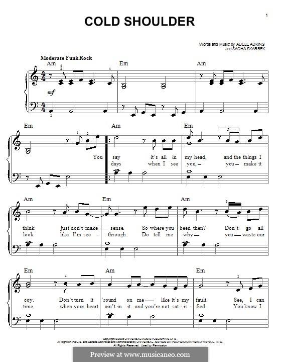 Cold Shoulder: Für Klavier by Adele