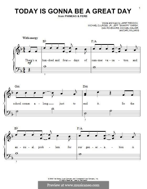 Today is Gonna Be a Great Day: Für Klavier, leicht by Jaret Reddick, Michael Walker, Jeff 'Swampy' Marsh, Dan Povenmire, Michael Culross, Jr., Carl Williams
