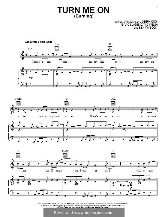 Turn Me On (Burning): Für Stimme mit Klavier oder Gitarre (The Fray) by Ben Wysocki, David Welsh, Isaac Slade, Joseph King