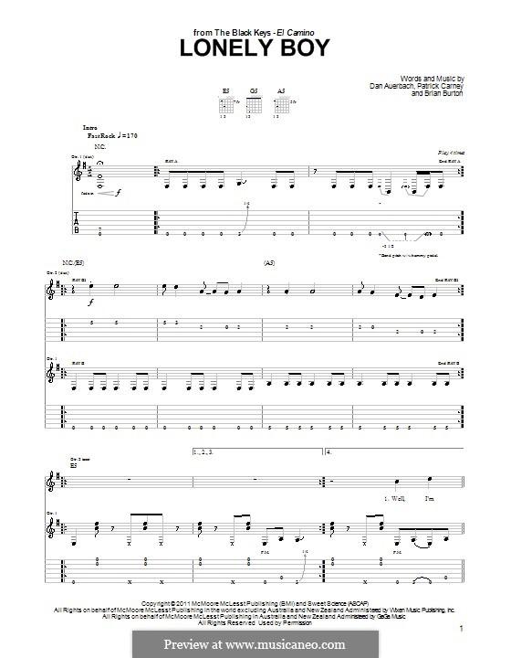 Lonely Boy (The Black Keys): Für Gitarre by Brian Burton, Daniel Auerbach, Patrick Carney