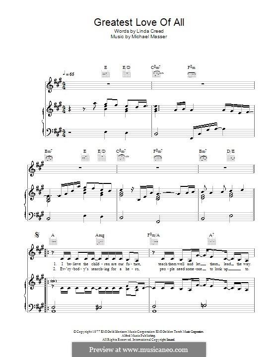 The Greatest Love of All (Whitney Houston): Für Stimme und Klavier (oder Gitarre) by Michael Masser