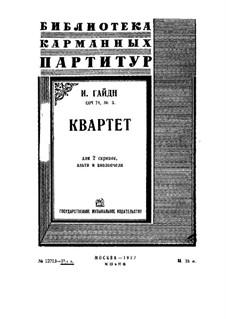 Streichquartett Nr.59 in g-Moll 'Reiter', Hob.III/74 Op.74 No.3: Partitur by Joseph Haydn