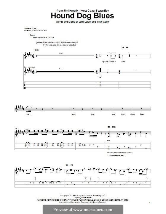 Hound Dog Blues: Für Gitarre by Jerry Leiber, Mike Stoller