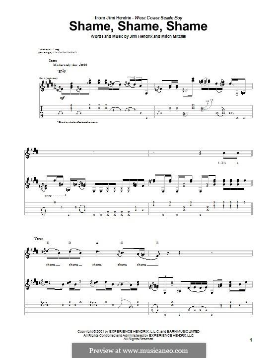 Shame, Shame, Shame: Für Gitarre by Mitch Mitchell