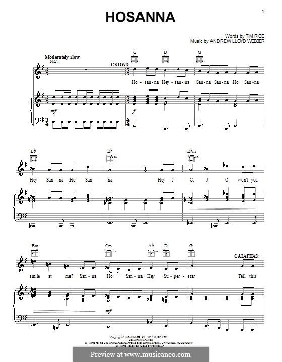 Hosanna (from Jesus Christ Superstar): Für Stimme und Klavier (oder Gitarre) by Andrew Lloyd Webber