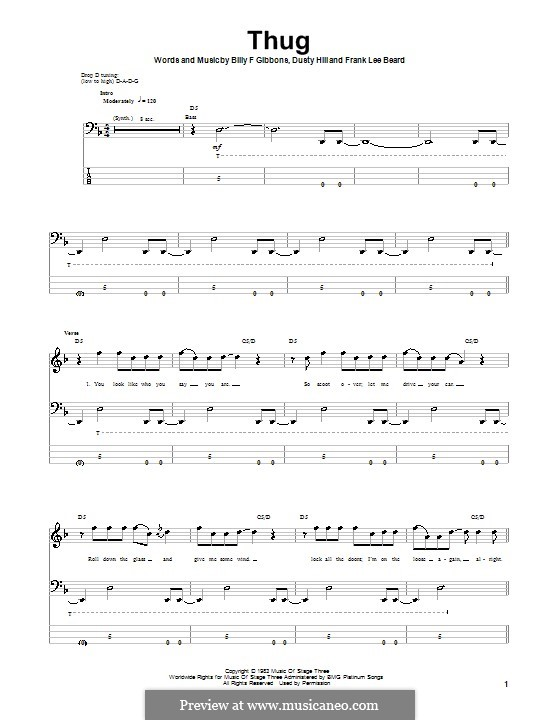 Thug (ZZ Top): Für Bassgitarre by Billy F Gibbons, Dusty Hill, Frank Lee Beard