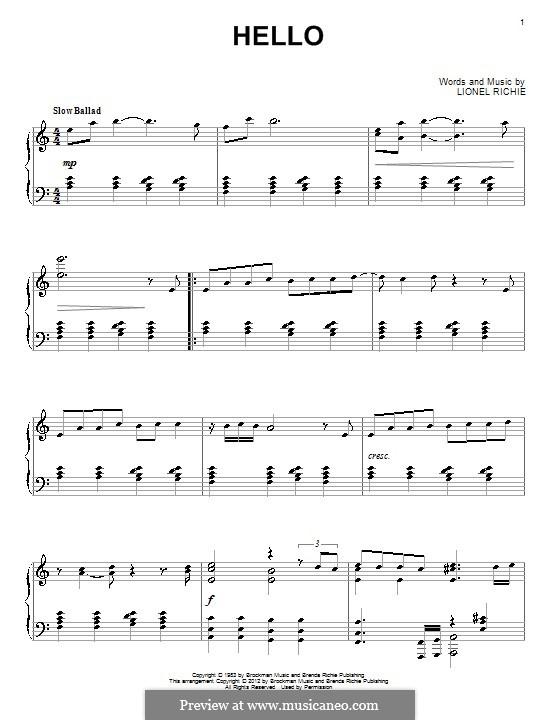 Hello: Für Klavier by Lionel Richie
